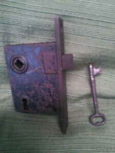 Antique Mortise Decorative Door Lock And Skeleton Key