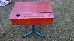 Vintage Wooden School Desk With Lift Top W Ink Well And Swivel Seat