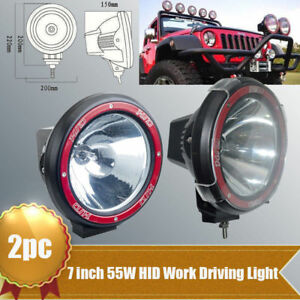 2x 7inch 55w Xenon Hid Work Light 6000k H3 Spot Fog Driving Lamp Atv Offroad 4x4