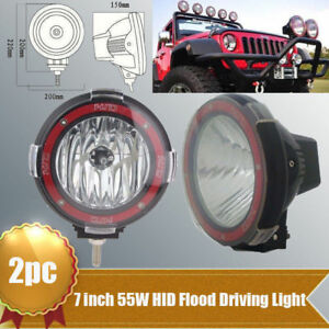 2x 7inch 55w Xenon Hid Work Light 6000k H3 Flood For Ute Atv Offroad Truck Boat