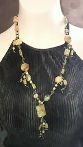 Chinese Carved Semi Prescious Bead Jade Agate Porcelain Necklace