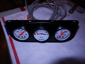 Triple Gauge Set White Faced Oil Pressure Voltage Water Temp With Bracket New