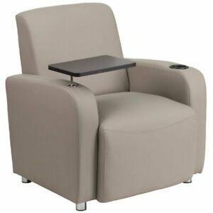 Pemberly Row Leather Guest Chair With Cup Holder In Gray