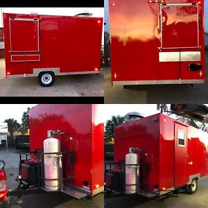 Concession Trailer Food Truck Cart Red With Equipment With Turn Key Business