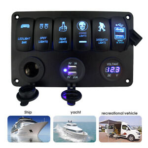 5 Gang On off Blue Led Toggle Switch Panel Voltmeter Dual Usb Car Boat Marine 12