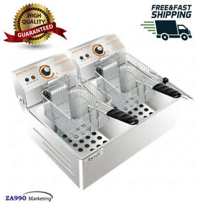 Commercial Electric 12l Dual Deep Fryer Oven Double Basket With Thermostat