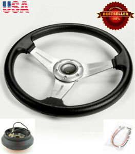 13 5 Pvc W 3 Silver Spokes Steering Wheel Horn Button W Short Hub For Honda