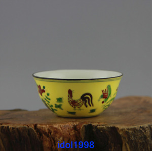 China Antique Ming Dynasty Yellow Doucai Chicken Jar Cup