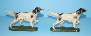 Antique Setter Pointer Hunting Dog Cast Iron Bookends Hubley Circa 1930 S