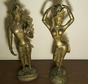 Antique Vintage Asian Buddha Solid Bronze Statues Lot Of 2 18 Tall