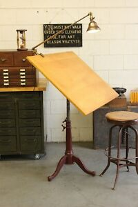Antique Vintage Industrial Drafting Drawing Table Cast Iron Base Dietzgen Art