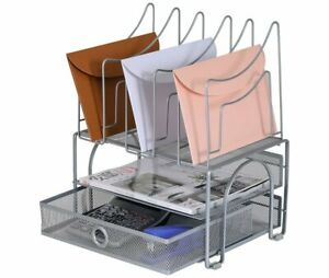 Easypag Mesh Desk Organizer Sliding Drawer Double Tray With 5 Upright Section