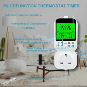 Temperature Line Timer Switch Digital Multifunctional Backlight Thermostat Plug
