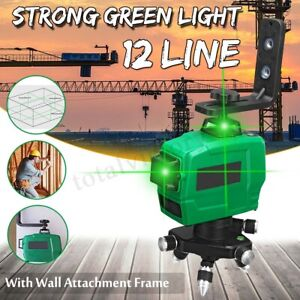 12 Line 3d Green Laser Level 360 Rotating Measure Self leveling W Wall Frame