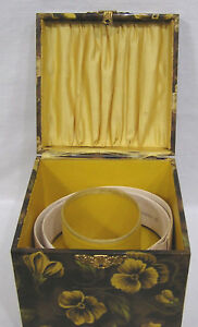 Vintage Collar Box Celluloid Pansies Colonial Couple On Lid 1900s With Collars