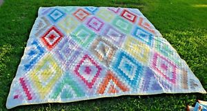 Beauty Vintage Diamond Quilt 84 X81 Hand Quilted Excellent Vintage Condition
