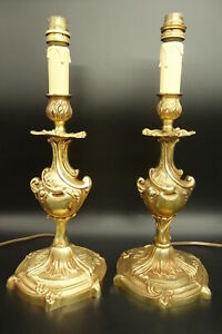 Large Pair Of Feet Lamp Rococo Style Bronze French Antique
