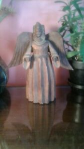 Old Hand Carved Wooden Angel Statue