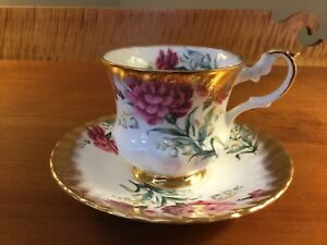 Rosina Tea Cup And Saucer Pink Floral Lily Of The Valley W Gold Gilt Trim