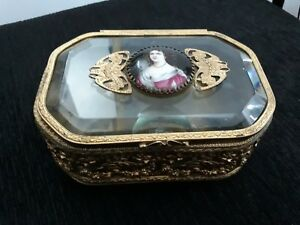 Antique Box Of Bronze French With Miniature Lady Portrait Painting