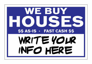 Qty 100 We Buy Houses Bandit Yard Signs Write Your Own Information In