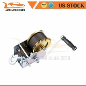 2500lbs 2 Gear Hand Winch Hand Crank Gear Tool Fit Heavy Duty Atv Trailer Boat