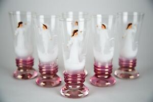 Antique Mary Gregory Iridescent Glass Painted Enamel Tumbler Glasses Set Of 6