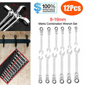 12pcs Metric Flexible Head Ratcheting Wrench Combination Spanner Set 8 19mm Us