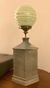 Very Large Ceramic Lamp Base With Early C20th Art Deco Cased Glass Shade