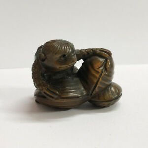 19th Japanese Handmade Boxwood Wood Netsuke Japanese Kappa Figurine Carving