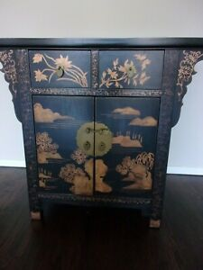 Chinese Shanghai Black Sideboard Antique Cabinet Vintage Asian Chinoiserie