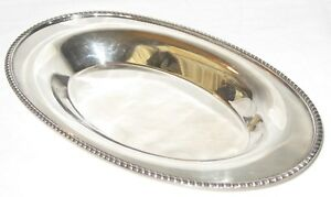 Vintage Poole E P C Silverplate Oval Bread Bowl Dish Tray 1504