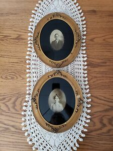 2 Pair Matching Victorian Couple Photographs Gold Ornate Oval Frames 10 25 12 5