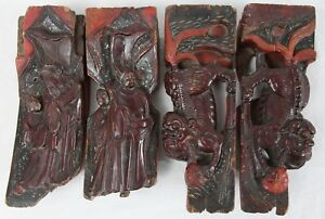 Antique Chinese Carved Wood Temple Fragment Lot Foo Dog Figural Red Lacquer