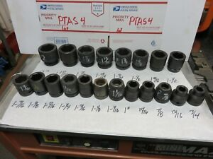 Proto Impact Sockets 1 Inch Drive 6 Pt Sae 21 Pcs Snap On Armstrong Williams Nos