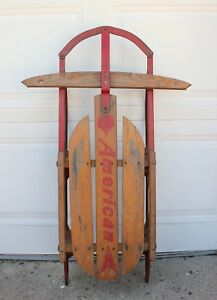 Vintage Wooden American Snow Sled Rustic Decor Farm Holiday Winter Rails Wood