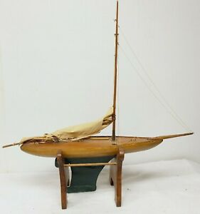 Antique Toy Pond Sailboat Handmade Solid Wood