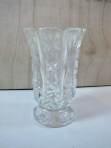 Antique Small Crystal Vase Hand Cut Deep Relief Hat Pins Clear Glass