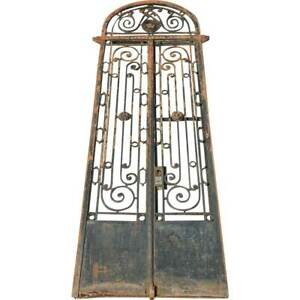Large Antique Argentine Beaux Arts Wrought Iron Arched Transom Entry Gate C 1890