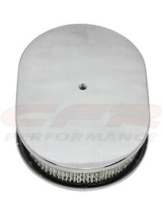Chevy ford mopar 12 Oval Polished Aluminum Air Cleaner Domed