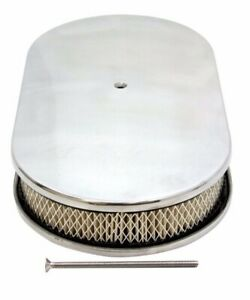 Chevy Ford Mopar 15 Oval Polished Aluminum Air Cleaner Domed