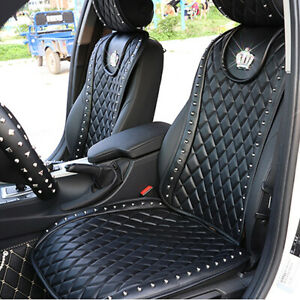 Leather Car Seat Cover With Diamond Crown Rivets Seat Cushion Interior Covers