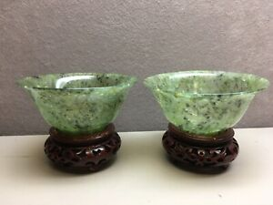 Pair Of Chinese Spinach Green Jade Bowls On Red Color Wood Stands
