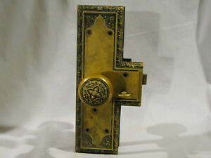 Antique Victorian Cast Brass Entry Door Lock Set 1899