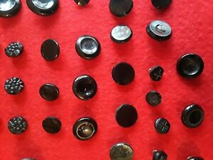 Nice Antique Group Of 69 Black Glass Buttons Various Sizes Shapes Charm String