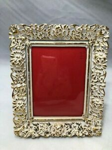 Vtg Easel Picture Frame White Wash Goldtone Filigree Metal Convex Glass 3x4 P