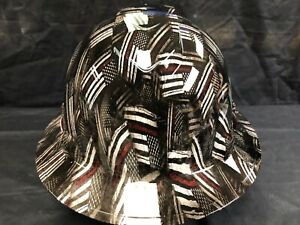 New Full Brim Vented Hard Hat Custom Hydro Dipped Red Line Flags