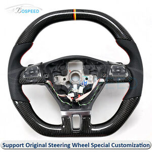 Carbon Fiber Leather Thick Sculpted Customized Steering Wheel For Vw Cc 2010 on