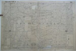 Original 1947 Hopkins Miami Plat Map 24 Allapattah Seaboard Railroad Florida