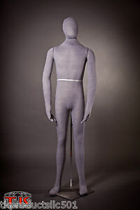 Mannequin Full Size Flexible Posable Grey Male For Costume